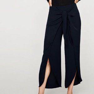 Zara Trousers Pants w/ Front Tie Navy Blue Slit S